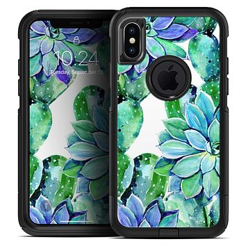Watercolor Cactus Succulent Bloom V13 - Skin Kit for the iPhone OtterBox Cases