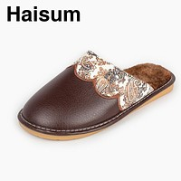 Haisum men's slippers PU leather warm winter home slippers non-slip fluffy plush shoes cotton man printing slippers H-8006
