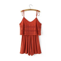 Summer Women's Fashion Stylish Classics Spaghetti Strap Lace Jumpsuit [4920606532]