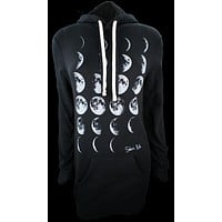 Phases of the Moon Hooded Sweatshirt Dress