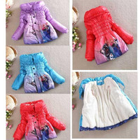 Best Selling New Arrival Winter Frozen Children's Down Coat Thickening Jirong Girl Long Cotton-Padded Clothes Kids Down Jackets Outwear.