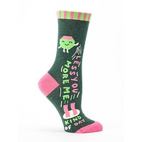 Less You More Me Women's Quirk Crew Socks Hipster/Nerdy/Geeky/Trendy, Green Pink Funny Novelty Socks with Cool Design, Bold/Crazy/Unique Specialty Dress Socks