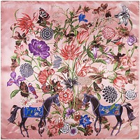 Fantastic Beasts Floral Faux Silk Scarf in Blush Pink