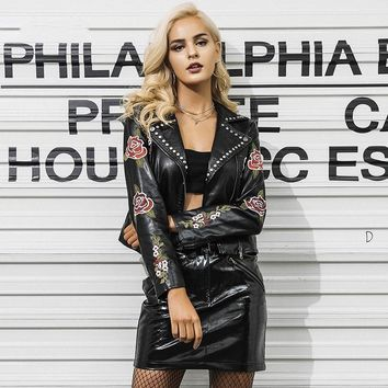 Moto Faux Leather Embroidered Jacket