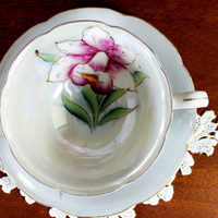 Shafford Japanese Teacup - Pearlized Tea Cup and Saucer - Gorgeous Hand Painted Iris 12258
