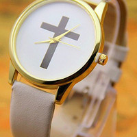 Leather Cross Watch