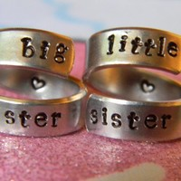 big sister little sister set of two spiral rings