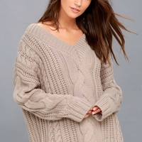 Camp Cozy Taupe Cable Knit Sweater