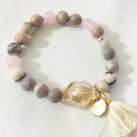 Natural Rose Quartz and Stone Beaded Stretch Bracelet with Crystal Faceted Bead and Cream Tassel with Gold Tag