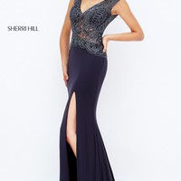 Long Sheer V-Neck Open Back Sherri Hill Prom Dress