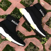 [ Free  Shipping ] Balenciaga   Sock Sneakers Black/Green  Running Sneaker