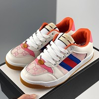 Gucci retro wild flat men and women dirty shoes pink