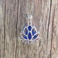 Sea Glass Sterling Silver Lotus Flower  Cobalt Blue Locket by Wave of LIfe