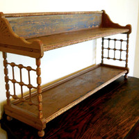 Rare Antique Victorian Vintage 1870s French Prairie Cottage Aesthetic Large Wood Cupboard Display Shelves Rustic Country Etagere Stand Shelf