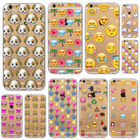 Lovely Funny Emoji Cases For iphone 6 6S 5 5S SE 5C 6Plus 6splus 4 4S Silicone Cell Phone Cover Various Covers