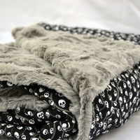 Gothic skulls and swirls Ultra cuddle fleece baby blanket, quilted toddler blanket, travel blanket, baby blanket, quilt in grey and black