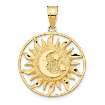 14k Yellow Gold Sun With Moon And Star Pendant