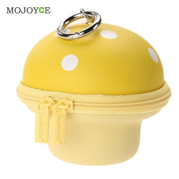 Cute Mushroom Coin Purse Keys Holder Zipper Retractable Case Wallet Multifunctional Girl Mini Purse Coin Holder Wallets SN9