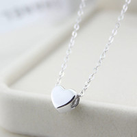 Sterling silver necklace, heart necklace, simple everyday jewelry, wedding jewelry, Christmas gift