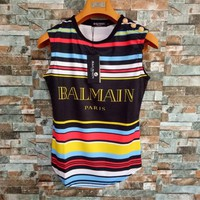 """Balmain"" Women Casual Rainbow Print Multicolor Stripe Vest Sleeveless Buttons Decoration  T-shirt Tops"