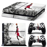 Flying Man Jordan Style Protective Vinyl Skin Stickers for Playstation 4 PS4 console and 2 controller