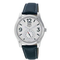 Q&Q by Citizen Q606J304Y Mens Watch White Patterned Dial Black Leather Strap