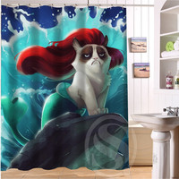 "2015 NEW style  Free Shipping Custom Bad tempered cat  waterproof seaside scenery Shower Curtain 60"" x 72"" bathroom decoration"