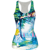 Womens Girl and Cat Slim Tank Top Sports Vest for Summer Free Shipping