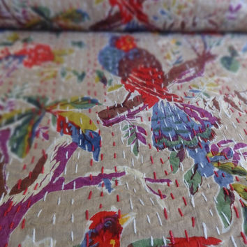 Indian Designer Kantha Quilt, Beautiful Bird & Floral Printed Bedspread, Queen Size Kantha Throw, Light Brown Color Theme, Bohemian Bedding