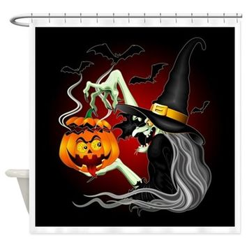 WITCH WITH JACK O'LANTERN AND BATS SHOWER CURTAIN