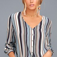 Always Faithful Blue Striped Long Sleeve Knotted Top