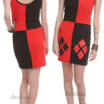 Licensed cool NEW DC  Harley Quinn Batman Tunic Tank Dress Cosplay Costume JUNIORS M-XL