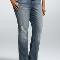 Torrid Relaxed Boot Jean - Light Wash with Ripped Destruction (Short)