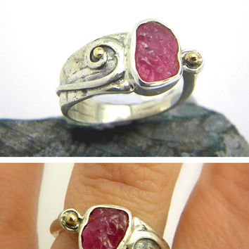 Ruby ring sterling silver rough gemstone ring - handmade cocktail ring - raw ruby pink stone and gold ring size 6.75 artisan jewelry
