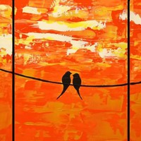 "ARTFINDER: love birds original abstract landscape ""Sitting in the sunshine"" painting art canvas - 40 x 120 inches by Stuart Wright - A good sized birds on a wire extra large painti..."