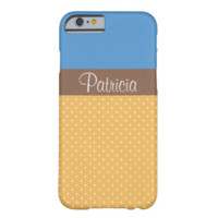 Chic Monogram Color Block Blue & Yellow Polka Dots Barely There iPhone 6 Case