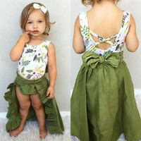 3PCS Toddler Baby Girls Clothes Floral Tops Vest+Shorts+Skirts Dress Outfits Set