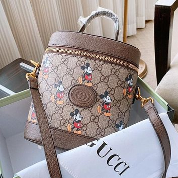 GUCCI x Disney Fashion Women Leather Cute Cylinder Handbag Tote Crossbody Satchel Shoulder Bag