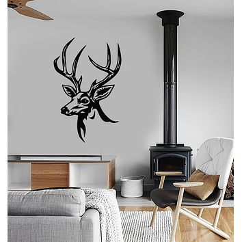 Vinyl Wall Decal Deer Head Hunting Club For Hunter Forest Animal Stickers (3724ig)