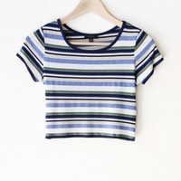 Striped Crop Top - Indigo/Cream