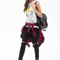 FOREVER 21 Simba Muscle Tee White/Black