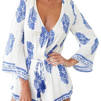 White Floral Print Plunge Trumpet Sleeve Romper