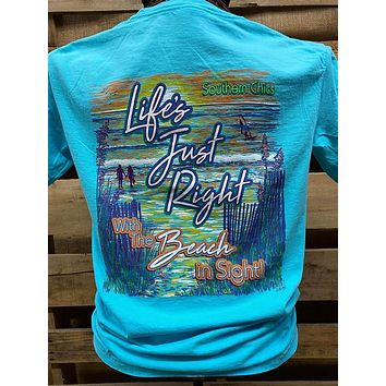 Southern Chics Apparel Life's Just Right with a Beach in Sight Comfort Colors Bright T Shirt