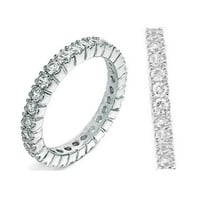 Sterling Silver CZ Eternity Wedding Band Ring size 4-10