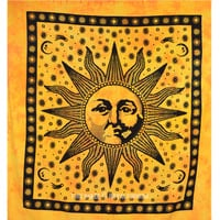 Yellow Queen Size Sublime Sun Tapestry Wall Hanging Bedding Bedspread on RoyalFurnish.com