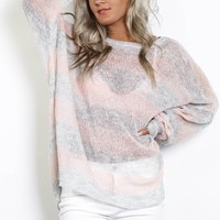 Picture This Mauve & Gray Striped Knit Top