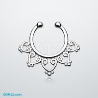 Royal Bliss Filigree Fake Septum Clip-On Ring