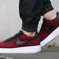 Originals Nike Air Force One 1 Flyknit Low Red / Black / White Running Sport Casual Shoes '07 817419-602 Sneakers