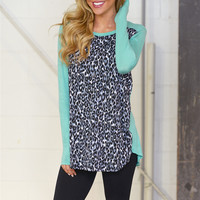 Come On Over Leopard Tunic - Mint
