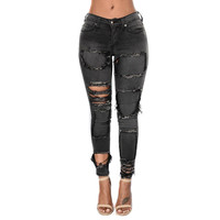 2098 New 2017 Hot Fashion Ladies Cotton Denim Pants Stretch Womens Hardcore Jeans Faded Black Bleach Ripped Skinny Jeans Female